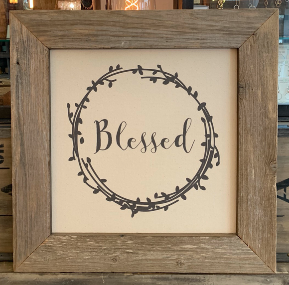 24x24 Blessed Canvas & Wood Sign BB