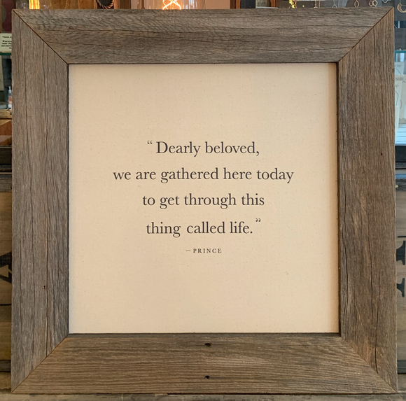 24x24 Dearly Beloved Canvas & Wood Sign BB