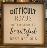 24x24 Difficult Roads Canvas & Thin Wood Frame BB