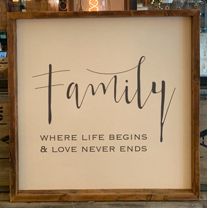 24x24 Family Canvas & Thin Wood Frame BB
