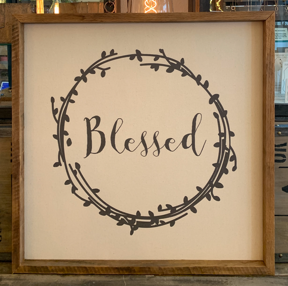 24x24 Blessed Canvas & Thin Wood Frame BB