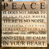 "Website - ""Peace"" Reclaimed Wood Sign 28 x 28 SNBH"