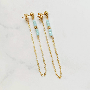 BBJ-F Post Chain Earrings - Blue Crystal