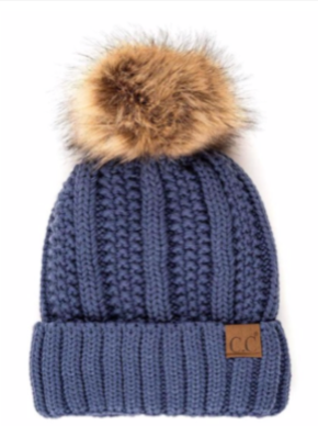 CC Fuzzy Lined Faux Fur Pom Beanie - dark denim