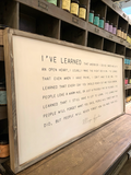 DDC-F 4x2' I've Learned Framed Wood Sign (color options)