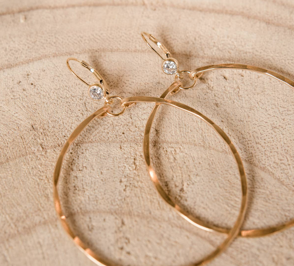 BBC-F Hoop Earrings w/cubic zirconia