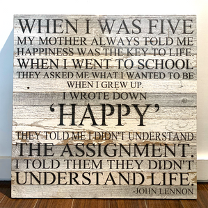 "Website - John Lennon ""When I Was Five"" Reclaimed Wood Sign 28 x 28 SNBH"