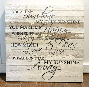 "Website - ""You Are My Sunshine"" 28x28 Reclaimed Wood SNBH"
