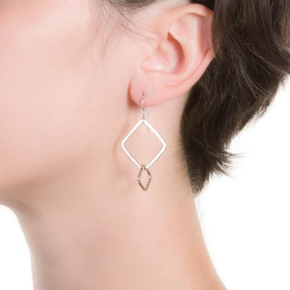 LMB-F Angle Earrings in Sterling Silver