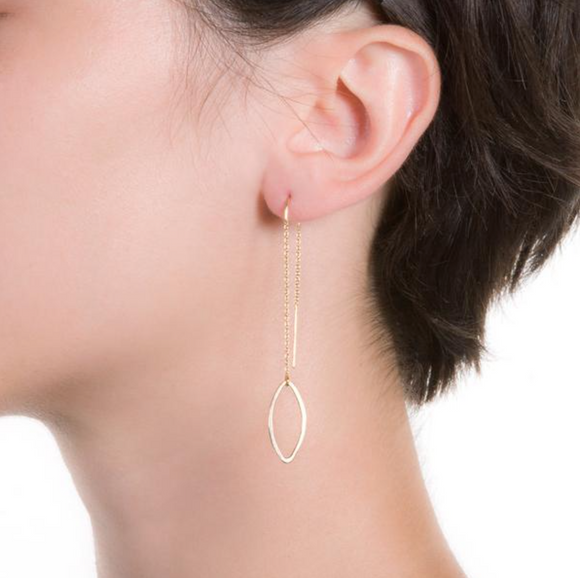 LMB-F Leaf Threader Earrings (options)