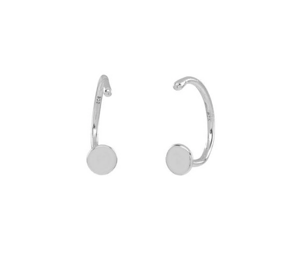 OFNA-F Circle Open Huggies - Sterling Silver