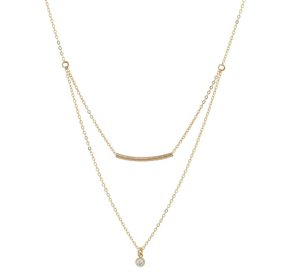 OFNA - Double Strand Tube & CZ Necklace