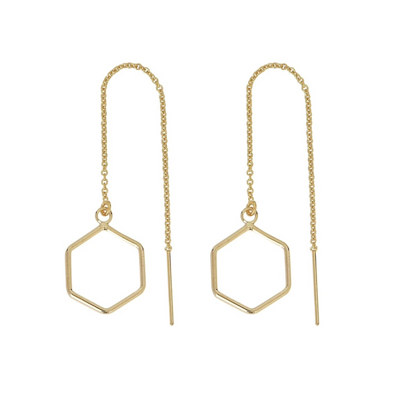OFNA-F Large Hexagon Threader Earrings