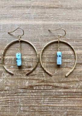 JJ-F Open Hoop w/Quartz Chain Earrings (options)