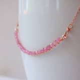 "LTF 16"" Pink Sapphire Curved Bar Necklace"