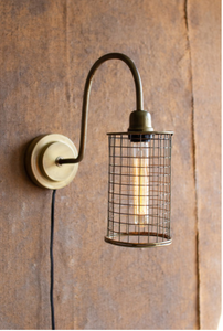 KLL NDE1377 brass wall lamp w/wire shade