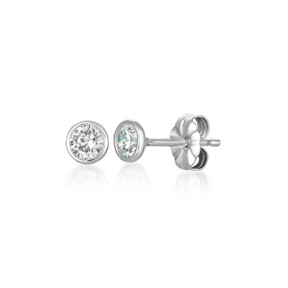 CZ Solitaire Bezel Set Earrings 1.0 Carat