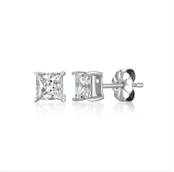 CZ Solitaire Princess Square Earrings (options)