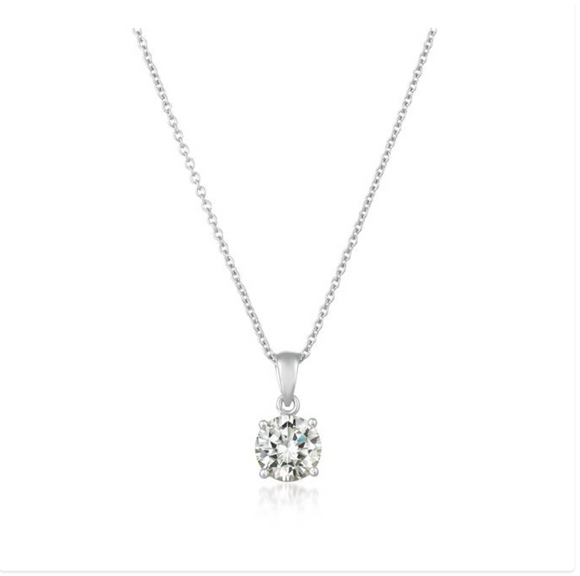 CZ Royal Brilliant Cut Pendant Necklace