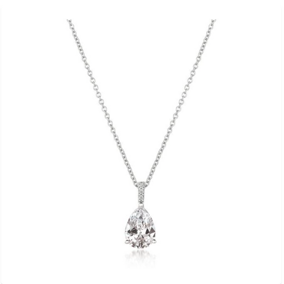 CZ Pear Pendant Necklace