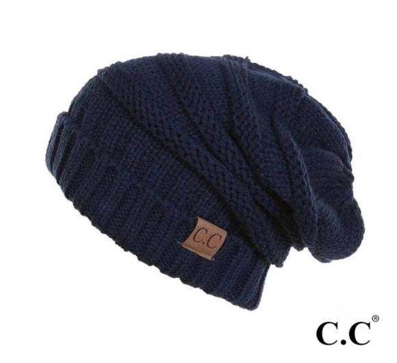 CC Ribbed Knit Super Slouch Hat - Navy