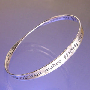 Mobius Bracelet - Mom in 32 languages - sterling silver