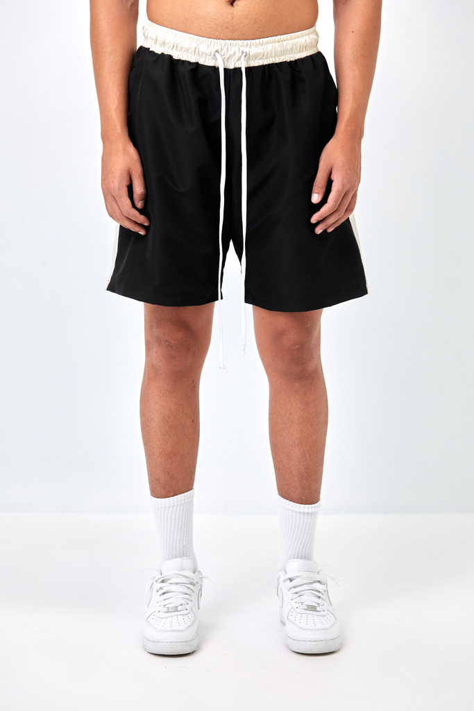 CORE SIDE-STRIPE SHORT - BLACK AND CREAM