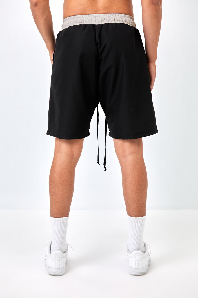 CORE SIGNATURE TRACK SHORT - BLACK AND TAUPE