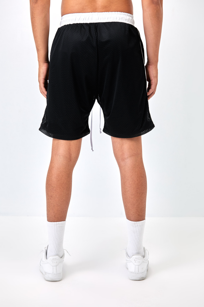 BLACK AND WHITE CORE MESH SHORT