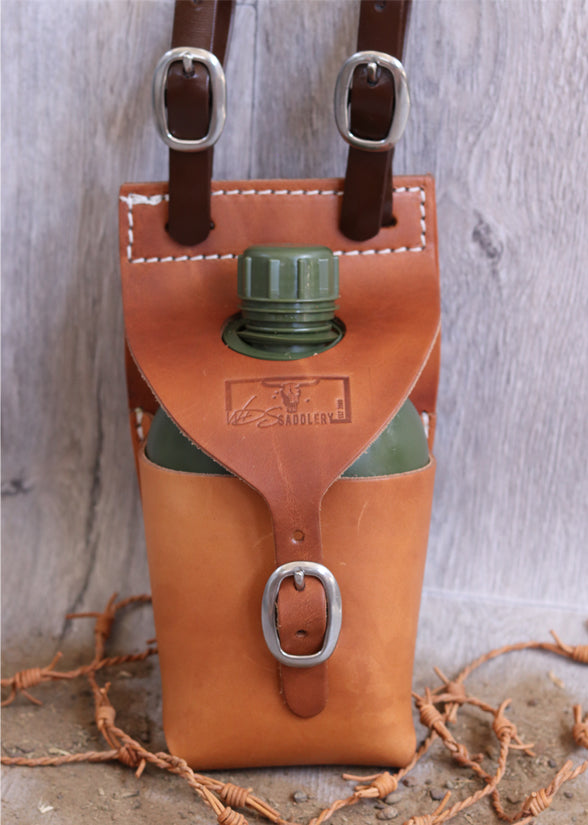 Single leather water bottle carrier