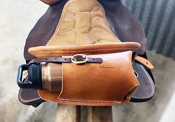 Leather insulated water bottle holder