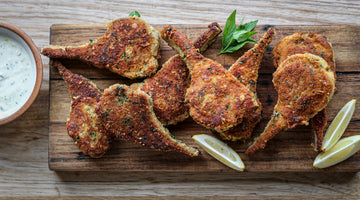 Parmesan crusted lamb cutlets with minted yoghurt