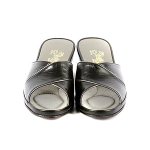 Sophie leather slippers open toe with gold trim