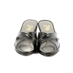 Chloe leather slippers open toe with gold trim