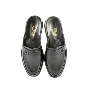 Marlon leather slippers with leather sole and leather appliqué