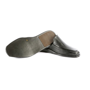 Kirk leather slippers with leather sole and leather appliqué