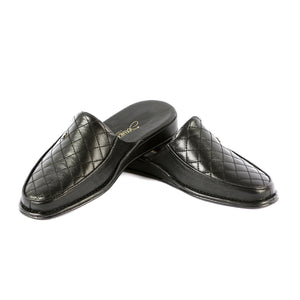 Errol leather slippers with leather sole and leather pattern