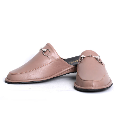 Prince Stone leather slippers with leather sole