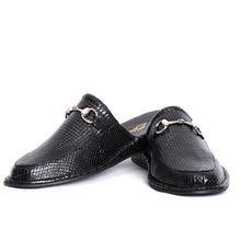 Load image into Gallery viewer, Prince Black Snake leather slippers with leather sole