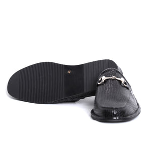 Prince Black Snake leather slippers with leather sole