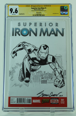 Superior Iron Man #1 - CGC 9.6 - Signed w/ Original Art of IRON MAN by SEAN CHEN