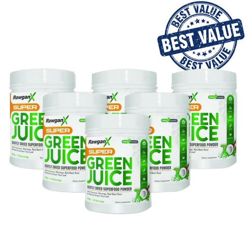RawganX Super Green Juice- 4 Pack + 2 FREE