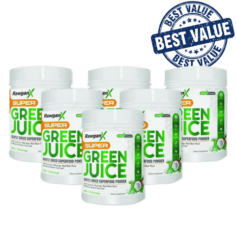 RawganX Super Green Juice- 4 Jars + 2 FREE