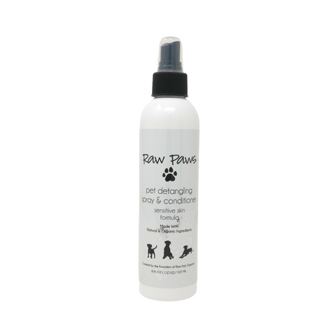 Raw Paws Natural & Organic Detangling Spray & Conditioner for Sensitive Skin 8 oz