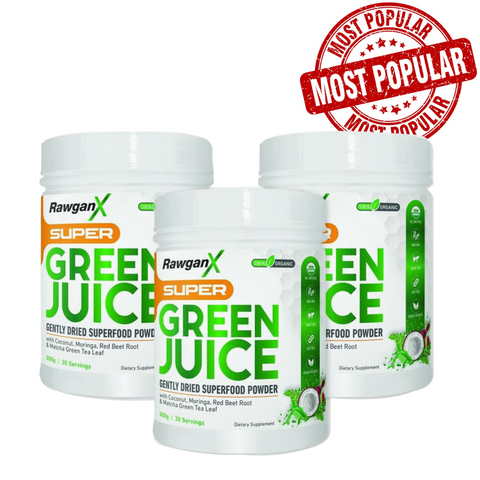 RawganX Super Green Juice- 90 Day Supply - TWO of the NEW Pineapple Mango Flavor & ONE of the Original Monk Fruit Flavor