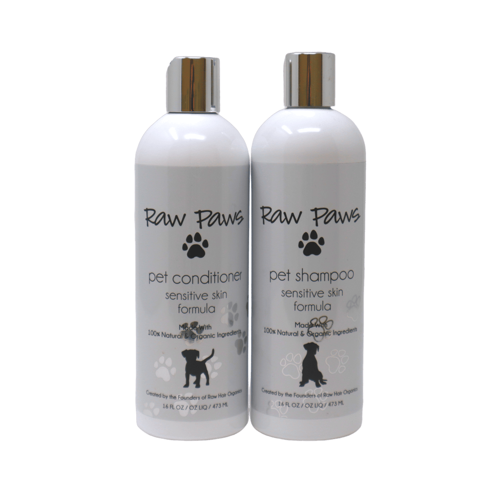 Raw Paws Natural & Organic Pet Bath Set for Sensitive Skin 16 oz