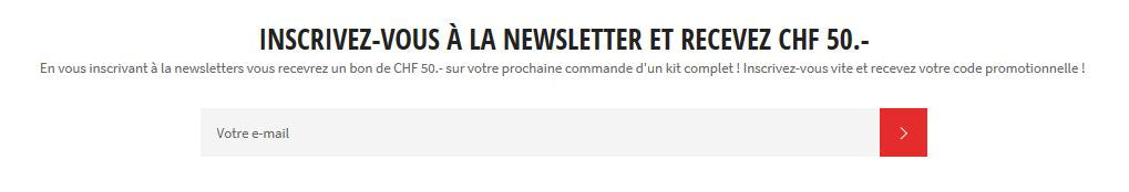 Inscription à la newsletter récompensée !