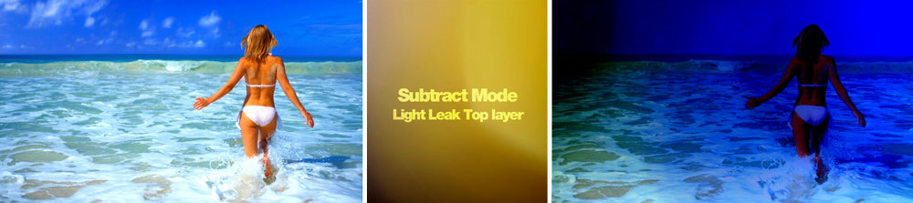 Subtract composite mode with light leak effects.