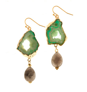 Aria-V Cameo earrings, handcrafted with teardrop faceted labradorite and mint green geode slices electroplated in gold