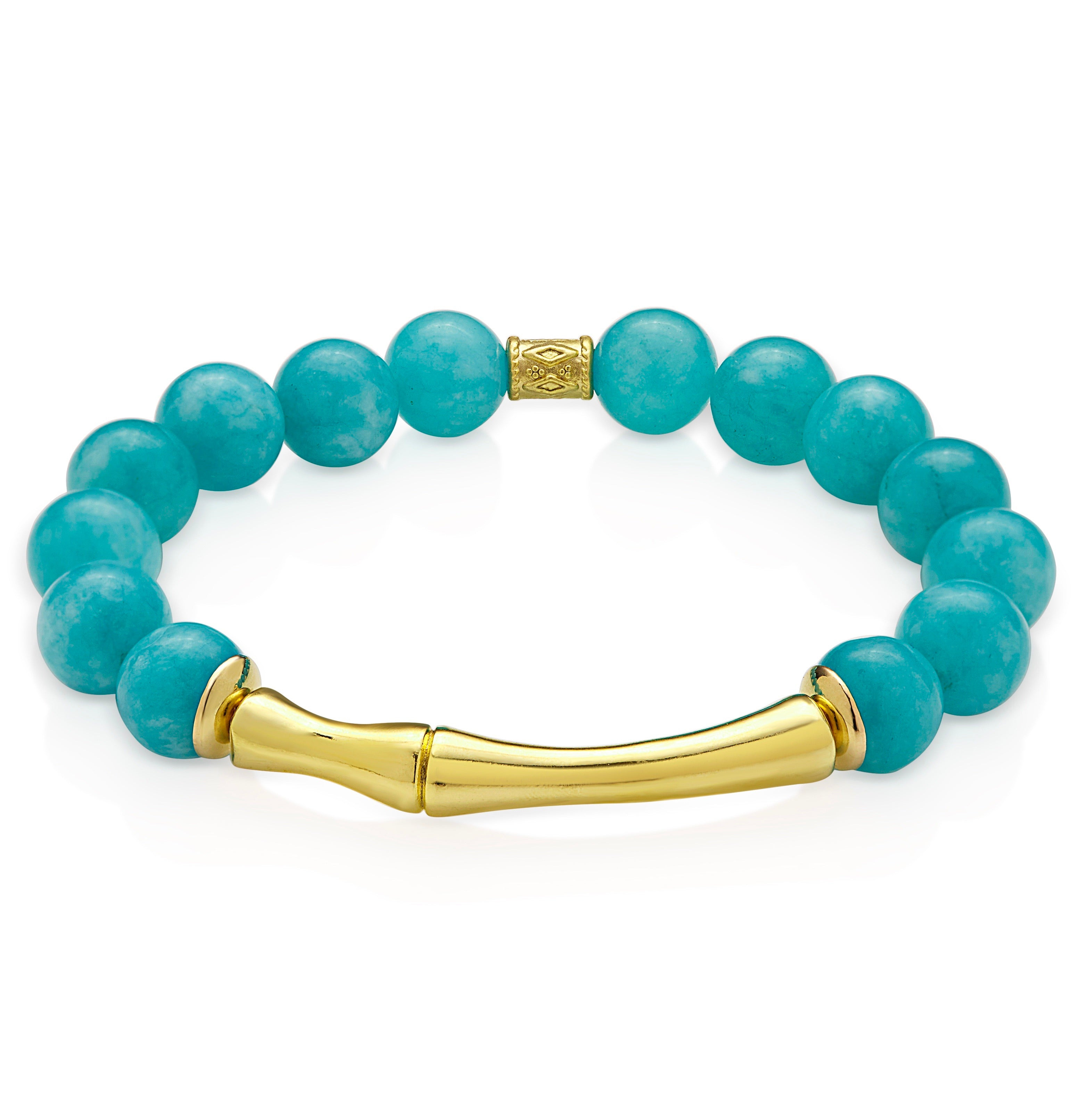 Aria-V Blue Lagoon bracelet handcrafted in Ireland with polished aqua blue jade and 24k gold plated bamboo connector.